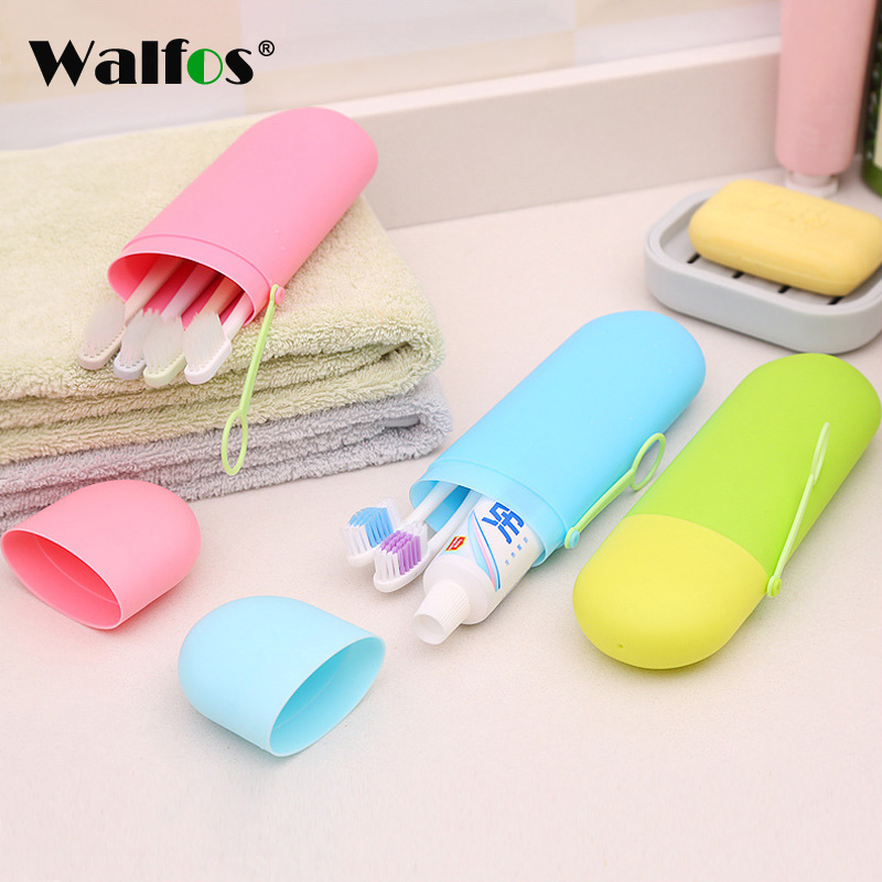 WALFOS Portable Travel Toothpaste Toothbrush Holder Cap Case Household Storage Cup Outdoor Holder Bathroom Accessories image
