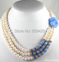 Free Shipping >>>3 Rows Real White Pearl 8 9mm Crystal Blue Opal Rose Flower Clasp Necklace