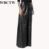XXS 7XL Plus Size Woman Pants Solid High Waist Full Length Loose Palazzo Trousers PU Faux