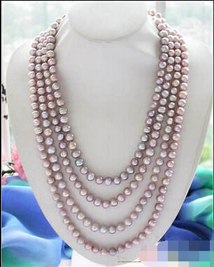 A Long 100 10mm lavender round freshwater cultured pearl necklace