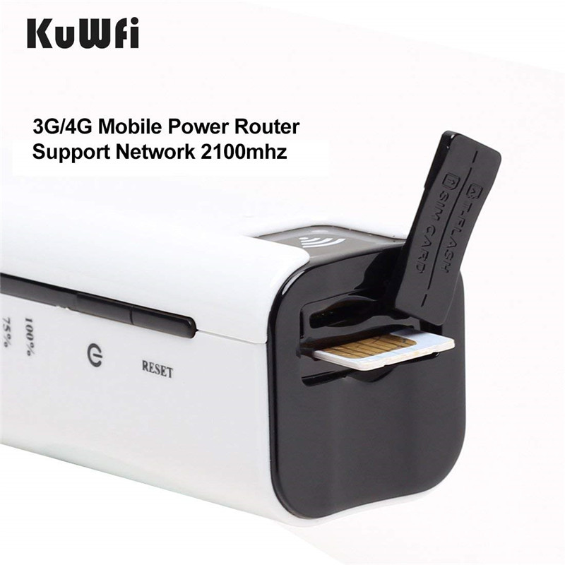 Image 2 - KuWfi 2200mAh 3G Wireless Router Mini Portable WI FI Routers Support 2100MHZ Mobile WiFi Hotspot With Sim Card Slot-in 3G/4G Routers from Computer & Office
