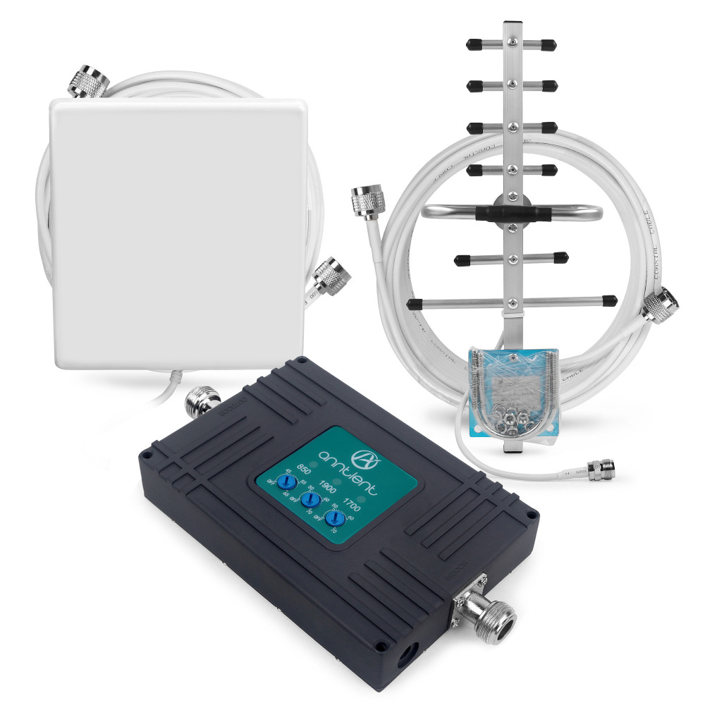 Genuine Tri Band 850/1900/1700MHz 2G GSM 3G Cell Phone Signal Booster 70dB Repeater Amplifier with Antenna Kit for Band 5/2/4