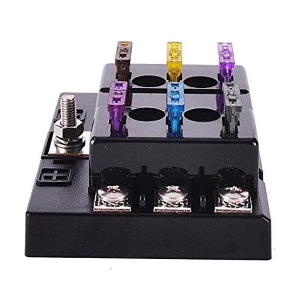 32V Car Boat 6 Way Circuit Standard ATO ATC Blade Fuse Box Block Holder 40a blade contact fuse link base holder nt00 500v 120ka 660v 50ka