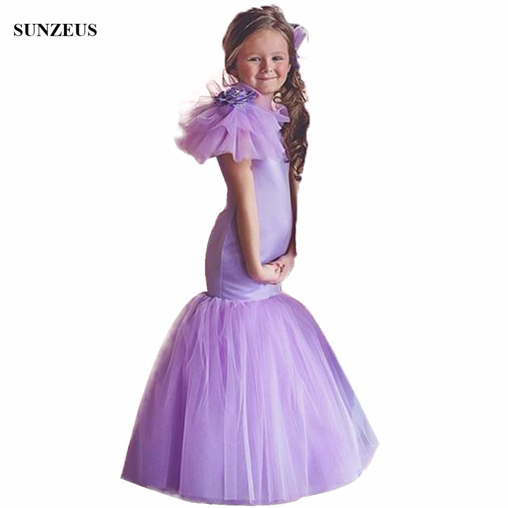 Purple Mermaid   Flower     Girl     Dress   Tank Sleeveless Long Satin Wedding Party Gowns With Big   Flowers   On Shoulder FLG062