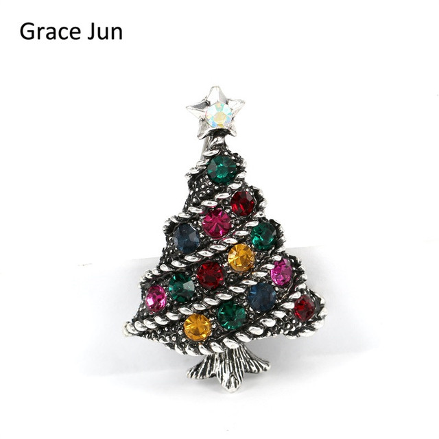 top quality rhinestone crystal lantern christmas tree brooches vintage suit scarf lapel pin booches elegant xmas