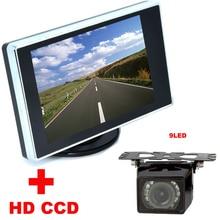 4.3 «TFT ЖК-Монитор автомобиля + 9LED Автомобильная Камера заднего вида HD CCD 170 Угол резервная камера автомобиля 2 в 1 Автоматическая Система Помощи При Парковке