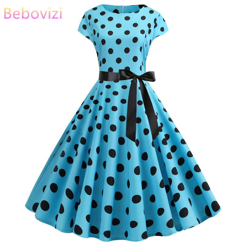 Bebovizi Women Clothes 2019 New 1950s Vintage Casual Summer Light Blue Dresses Plus Size Elegant Office Sexy Print Bandage Dress in Dresses from Women 39 s Clothing