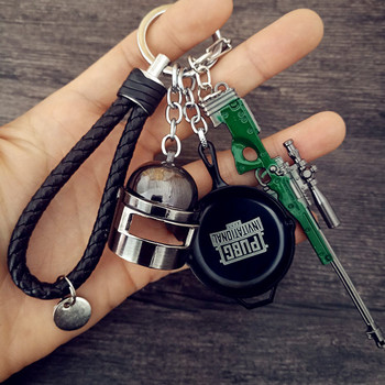FPS Game Playerunknown's Battlegrounds 3D Keychain PUBG zinc alloy Keyring Jewelry Pendant child Gift Toy gun ornaments