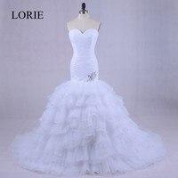 Vintage Mermaid Wedding Dress Vestido de noiva 2018 LORIE Sweetheart Plus Size Organza Bridal Gowns With Ruffles Lace Up Back