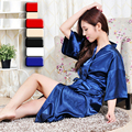 Matching mother daughter stain robes 4 colors plus size quality silk kimono robes v-neck dressing gowns for women and girls sale