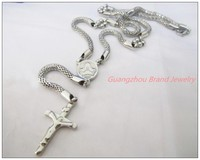 New Arrive Fashion Jewelry 316L Stainless Steel Silver Cross Jesus Rosary Fashion Jewelry Womens Mens Necklace