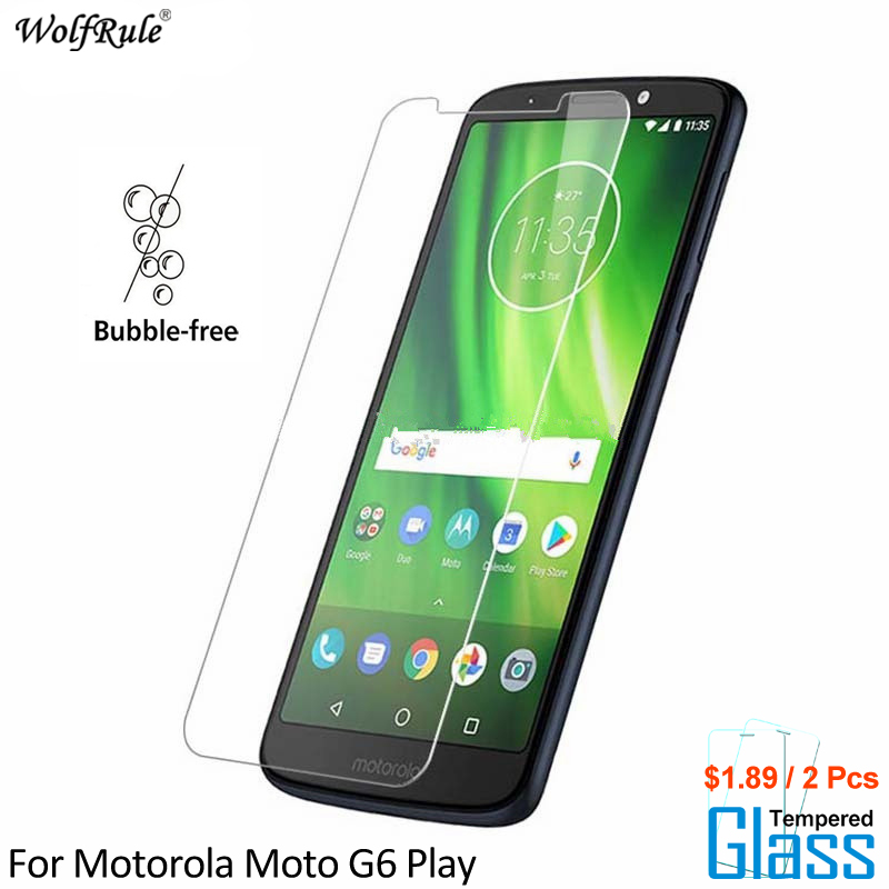 Galleria fotografica 2PCS For Glass Motorola Moto G6 Play Screen Protector Tempered Glass For Motorola Moto G6 Play Glass Phone Film WolfRule