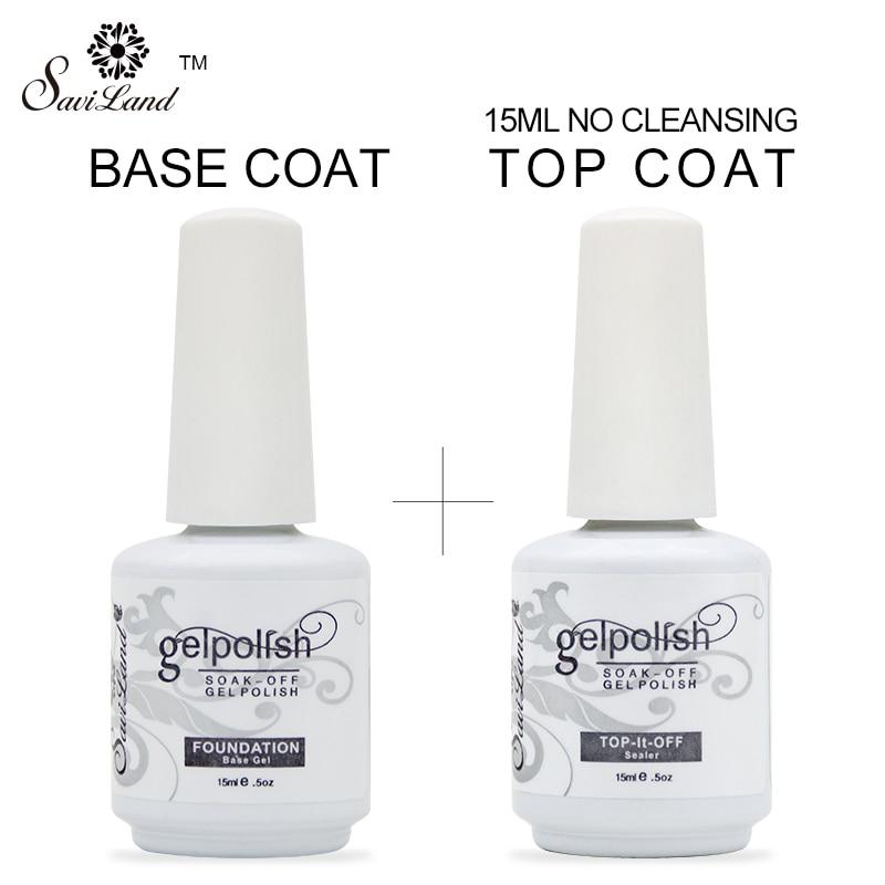 Saviland Primer Gel polish 15ml Top Base Coat Gel Varnish Top it off + Base Coat Foundation for UV Gel Nail Polish