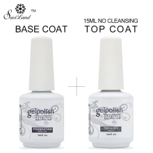 Saviland 2Pcs / set Gelpolish 15ml Top Base Coat Gel Varnish Top it off + Base Coat Foundation untuk UV Gel Nail Polish