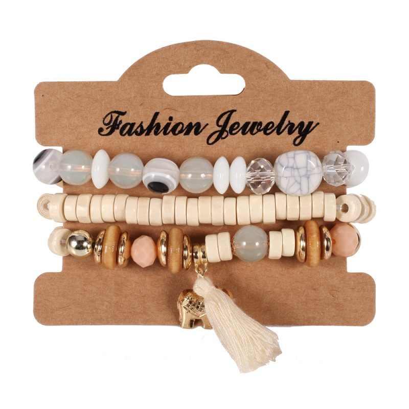 Найти меня 2019 брендовые Модные Винтажные этнические эластичные мраморные бусины браслет Бохо эффектный браслет с листьями и браслет, женская бижутерия