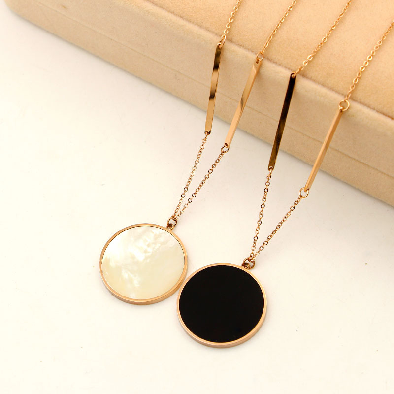 Rose gold color black round pendant necklace, fashion stainless steel long sweater necklaces for women collares femme jewelry