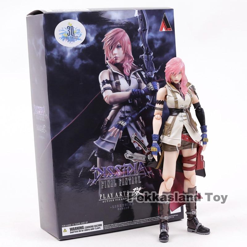 Genuino Gioca Arts Kai Dissidia Final Fantasy XIII Lampo Eclair Farron Action PVC Figure Da Collezione Model Toy 23 cm