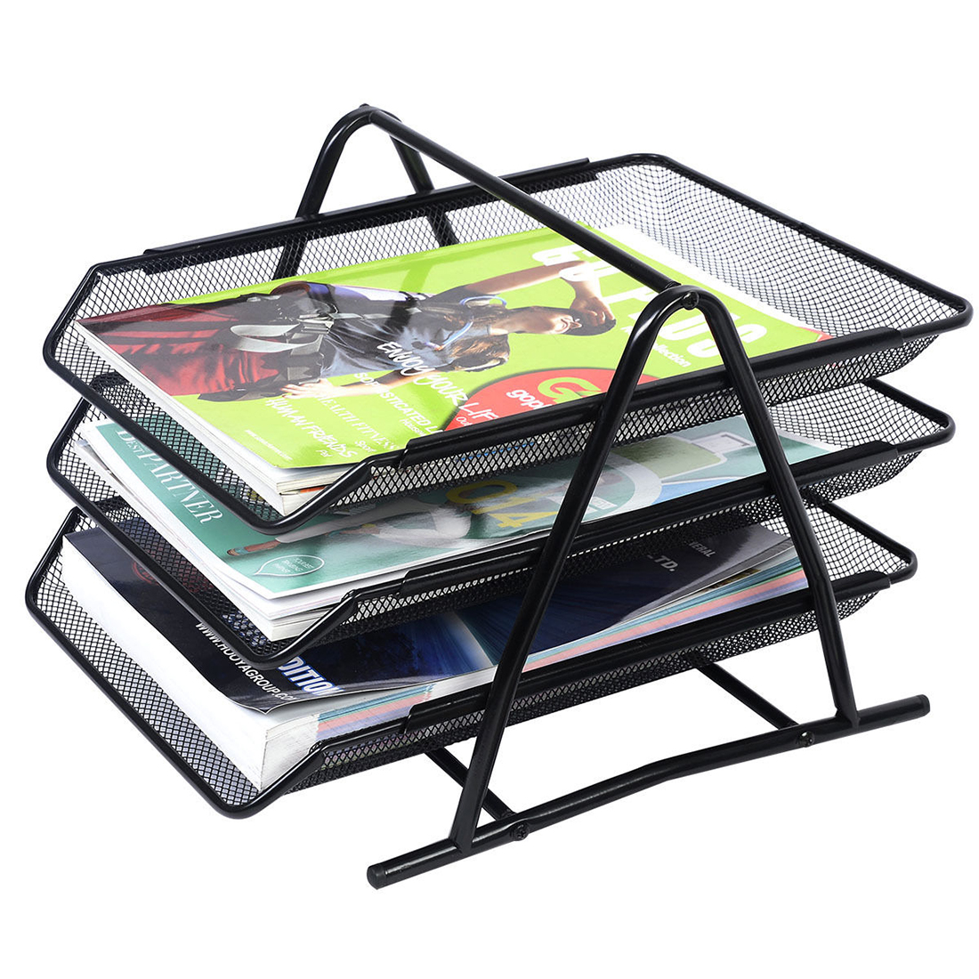 Mesh Letter Sorter Mail Tray Desk Document Organizer Business Office Accessories Black