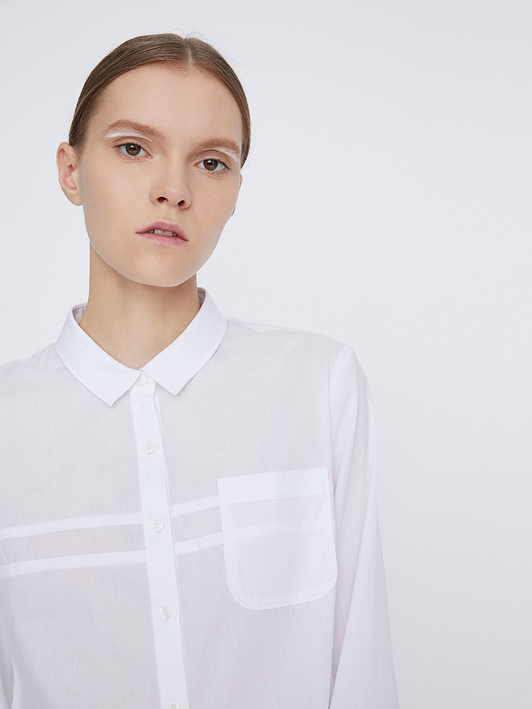 Toyouth White Casual Thin Women Blouse Spliced Solid
