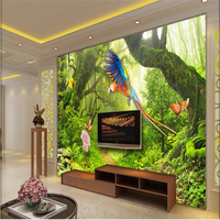 Large Scale Custom Wallpaper Fresh Virgin Forest Park Flowers And Trees Landscape Decorative Painting Papel Contact