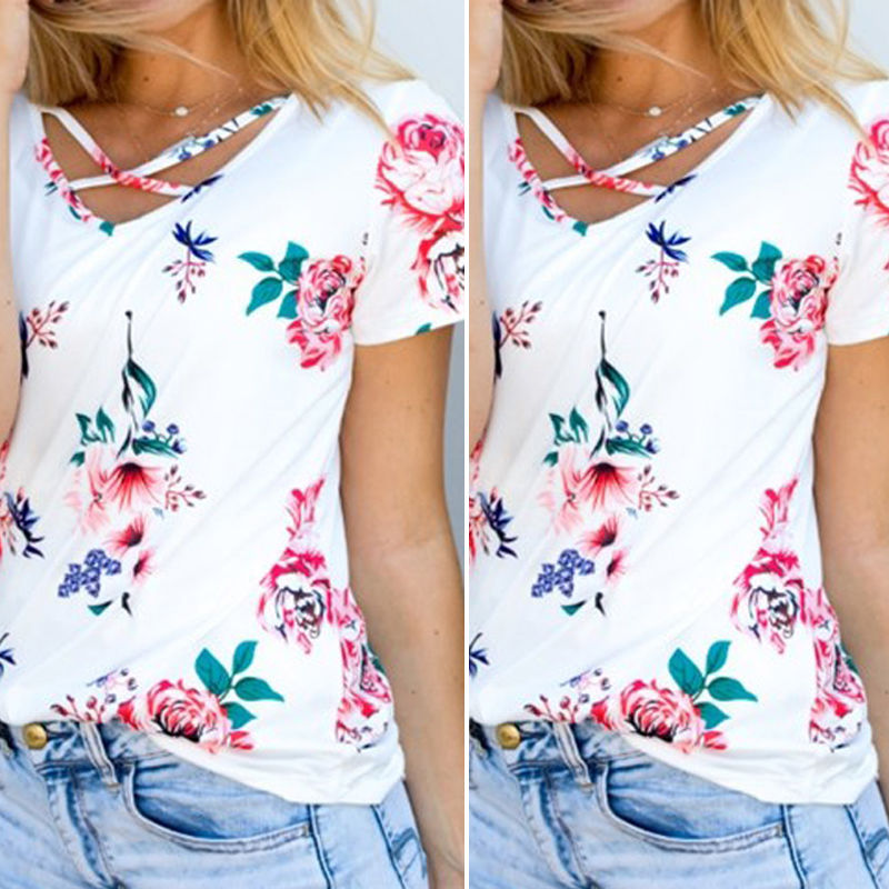 2017 sommer mode frauen bluse floral kurzarm damen baumwolle lose - Damenbekleidung - Foto 3