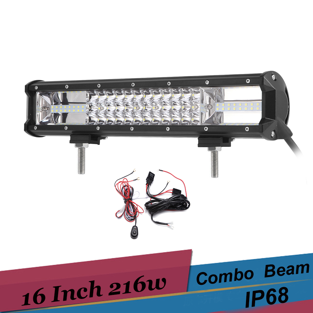 216W LED Light Bar Offroad SUV Truck 4x4 4X4 4WD LED Bar 12V 24V 16 inch Combo led Off road driving Fog light with Wire Harness