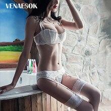 4814c0bb62ea Embroidery Lace White Lingerie Set Cotton Brassiere Push-Up Women Bra Set 3 Piece  Bra