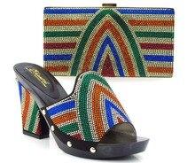 สีดำรองเท้าอิตาลีจับคู่กับกระเป๋าTop Quality Rhinestonesรองเท้าผู้หญิงแอฟริกันและถุงที่กำหนดไว้สำหรับขายส่ง! MVZ1-22