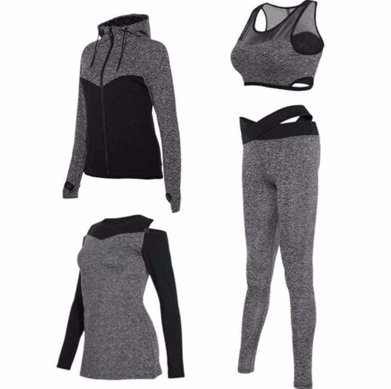 4pcs Sports Wear Yoga Set Women's Sports Suits Running Jacket Pants Shirts Bra Set Fitness Sportswear Training Gym Clothes new winter yoga suit five piece female ms breathable coat of cultivate one s morality pants sports suits running fitness