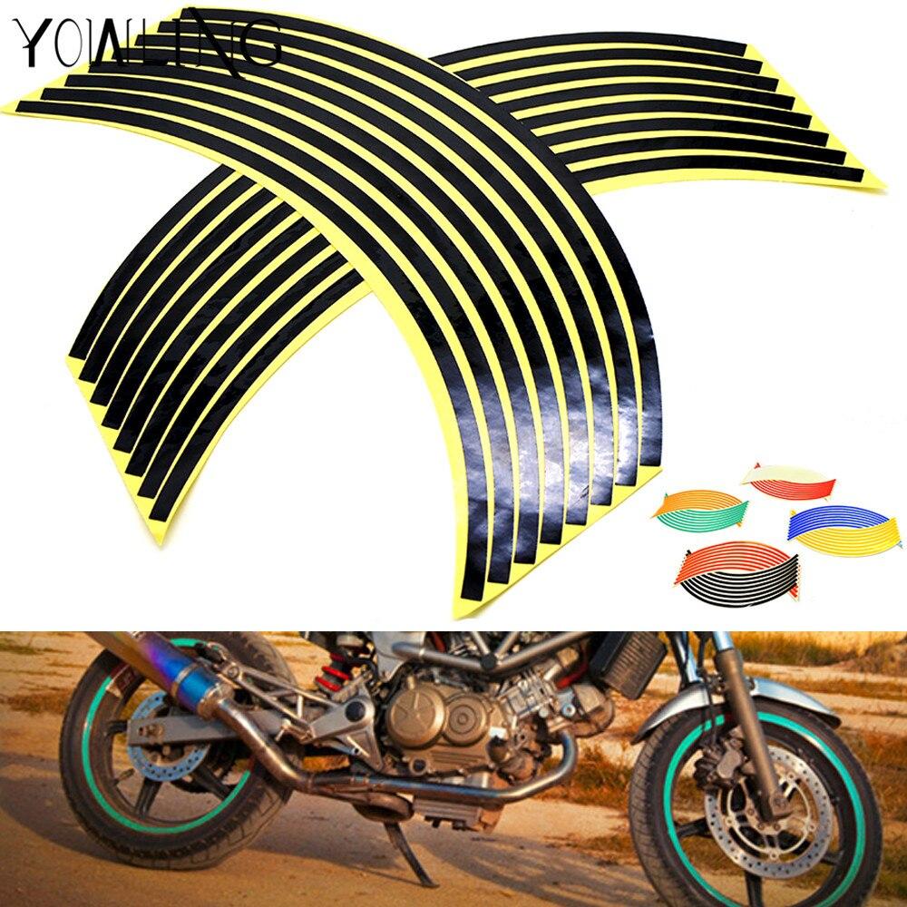 16 Strips Bike Motorcycle Wheel Tire Rim Stickers And Decals Decoration Stickers 1417 18 for yamaha ktm honda Kawasaki suzuki