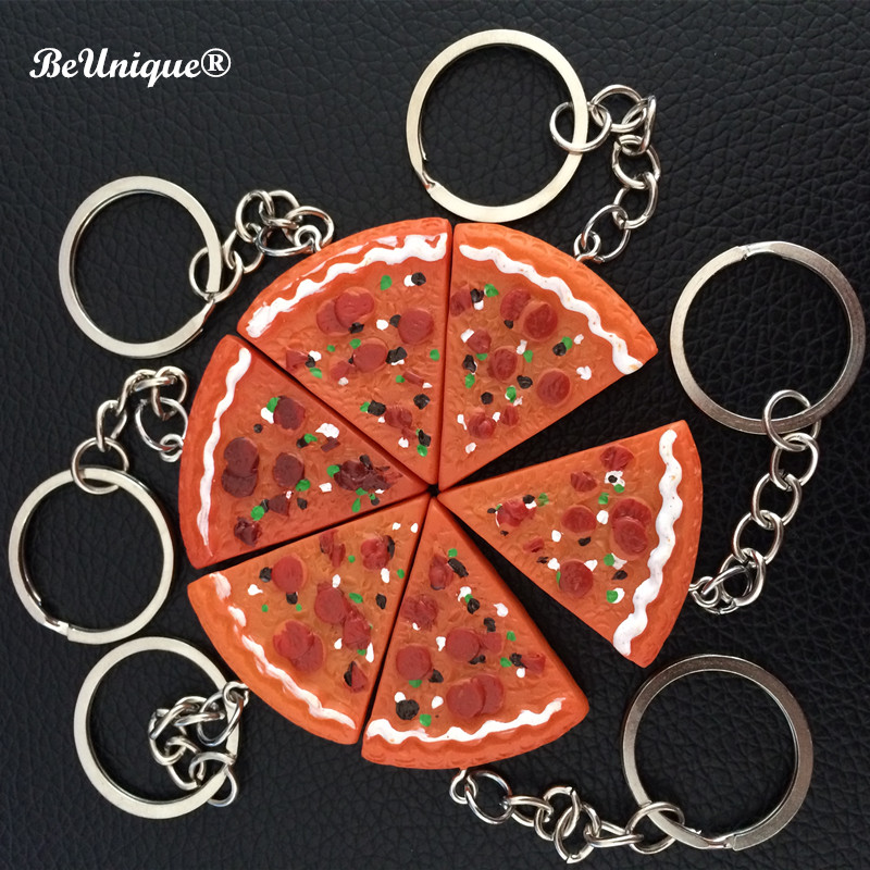 Resin Pizza keychain pendant Simulation PF food keyring Chaveiro llavero Kid DIY Jewelry Accessories Advertising gifts Wholesale