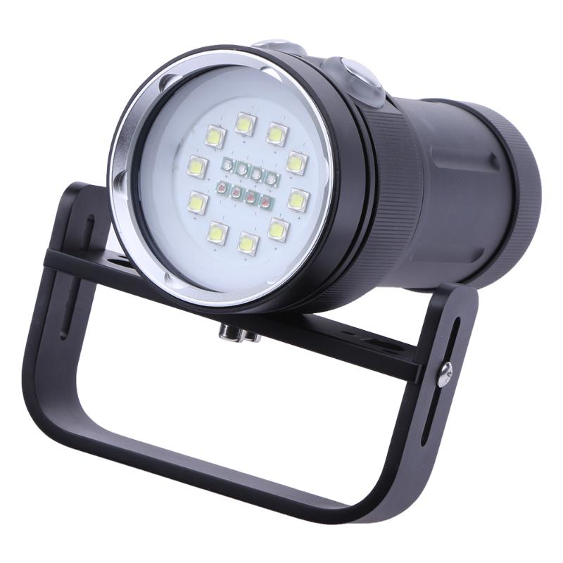 Профессиональный белый светодиод УФ свет светодиодный фонарик Подводный Видео Дайвинг фонарик лампы дайвинг свет Водонепроницаемый факел