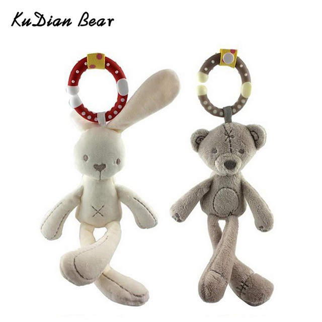 KUDIAN BEAR Baby Rattles Plush Rabbit Stroller Wind Chimes Plush Bear Hanging Bell Toy Doll Soft Bed Appease Toys BYC079 PT49