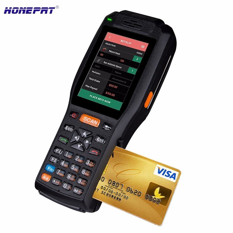 IP65 all in one touch screen pos system built-in scanner and 2 inch printer support 4G Netwrok and Bluetooth WIFI GPS NFC