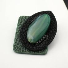 Здесь можно купить   Original New Jewelry Fashion Ornaments Unisex Green Genuine Leather Brooch Rhinestone With Nature Stone Pin , Item NO.: TA008 Fashion Jewelry