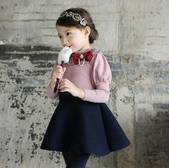 2017 Girls Evening Party Dress Winter Baby Girl Bow Cotton Dresses Kids Long Sleeve Lace Collar Princess Dress Children Clothes lace party big baby girl dress long sleeve autumn cotton bow red white princess dress kids baby girl dress children clothing