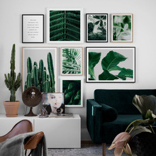Cactus Big Fresh Green Plant Leaves Quotes Wall Art Canvas Painting Nordic Posters And Prints Pictures For Living Room Home
