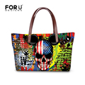 Cool Skull Handbags Large Capacity Women Bags Cartoon Style College Girls Shoulder School Bags,Casual Women Travel Shopping Tote