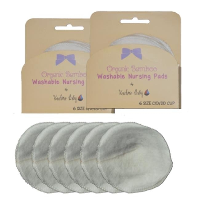 Kashmir Baby PadsB316 2-6 Packs Organic Bamboo Washable Nursing Breastpads for Cup Size C D & DD