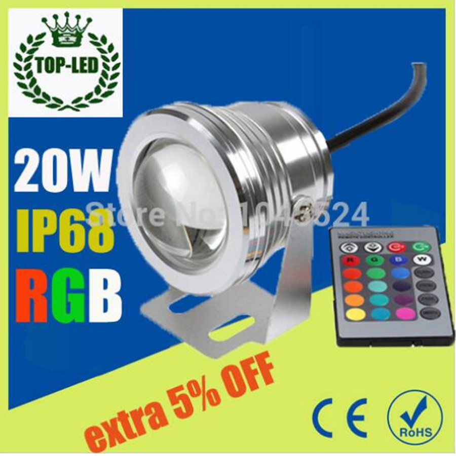 20W 12 v bawah air RGB Led Light Waterproof IP68 fountain pool Lights Lights16 perubahan warna + IR Remote controller Led Spot Lights