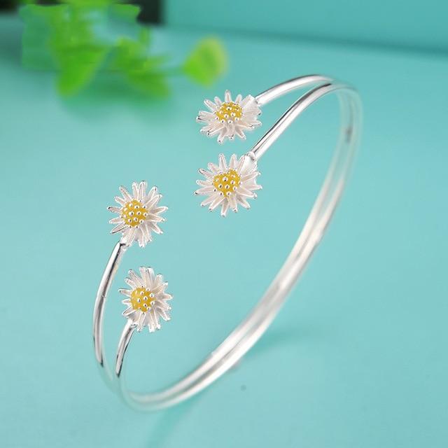 Women Trendy New Sale Bangles Brazaletes Pulseras Mujer 925 Silver Sterling Fashion Fresh Flowers Jewelry Bracelet Bj066