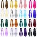 24 Цвета Косплей Парик Женщины Теплоизоляционный Розовый Черный Синий Красный Желтый Белый Блондинка Фиолетовый Прямые Волосы 80 см