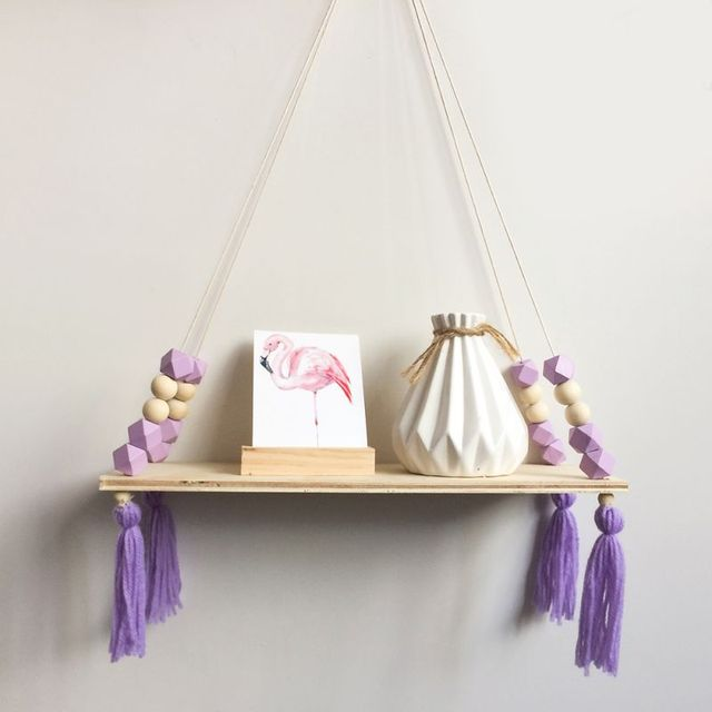 Home Nordic Style Storage Rack INS Wall Shelves Wall Decor Wooden Beads Tassel Storage Swing Shelf Kid's Room Organizer for Toys 5