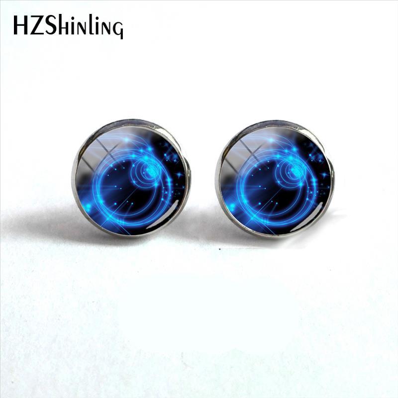 2018 New Neon Circles Background Earring Silver Glass Dome Ear Stud Handmade Jewelry Art Photo Earrings For Women HZ4