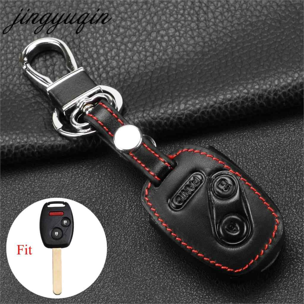 Jingyuqin 3 Botões Couro Car Key Case Capa Para Honda Civic Accord FIT INTROSPECÇÃO Ridgeline CR-V-Car styling
