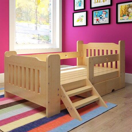 Children Beds Children Furniture 180*120 cm solid pine wood children beds with ladder cabinet