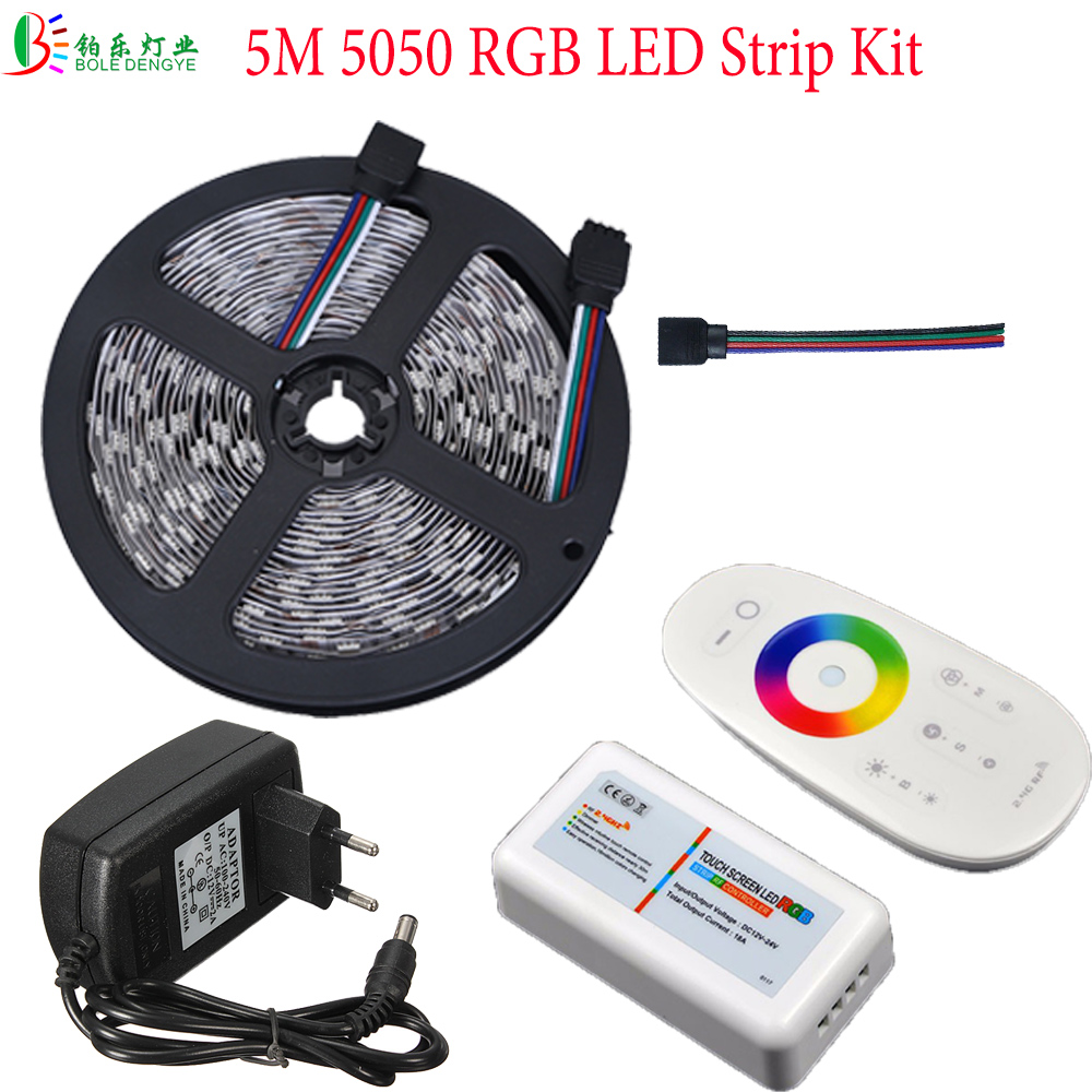 20M Control Distance 5M 5050 RGB LED Strip Light 12V 30 leds/m Non Waterproof Flexible Tape Ribbon+2.4G RGB Controller+Power