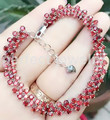 Garnet chain bracelet Free shipping Real natural red garnet 925 sterling silver Luxury bracelets 0.13ct*105pcs gems #16030125