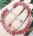 Garnet pulseira cadeia Frete grátis Real 0.13ct natural red garnet 925 prata esterlina pulseiras De Luxo * 105 pcs gemas #16030125