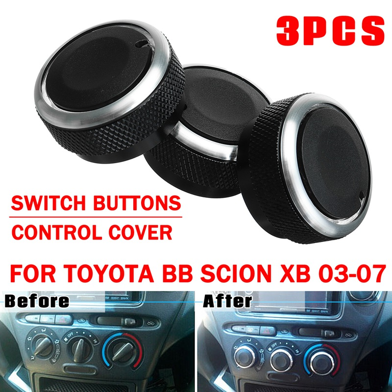 Autoleader 3Pcs Car Air Conditioning Knob Switch For TOYOTA BB 2000-2005 For SCION XB 2003-2007 Black ABS Auto Stickers Cover